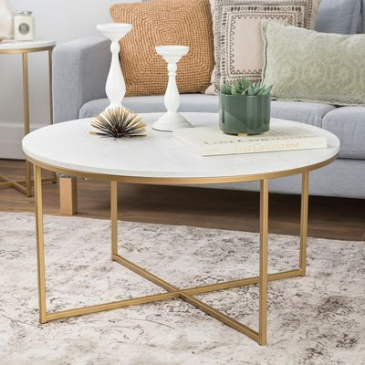 Gold X Base Faux Marble Round Coffee Table | The Peyton Ii Intended For Silver Orchid Henderson Faux Stone Round End Tables (View 15 of 25)