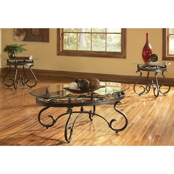 Featured Image of Gracewood Hollow Fishta Antique Brass Metal Glass 3 Piece Tables