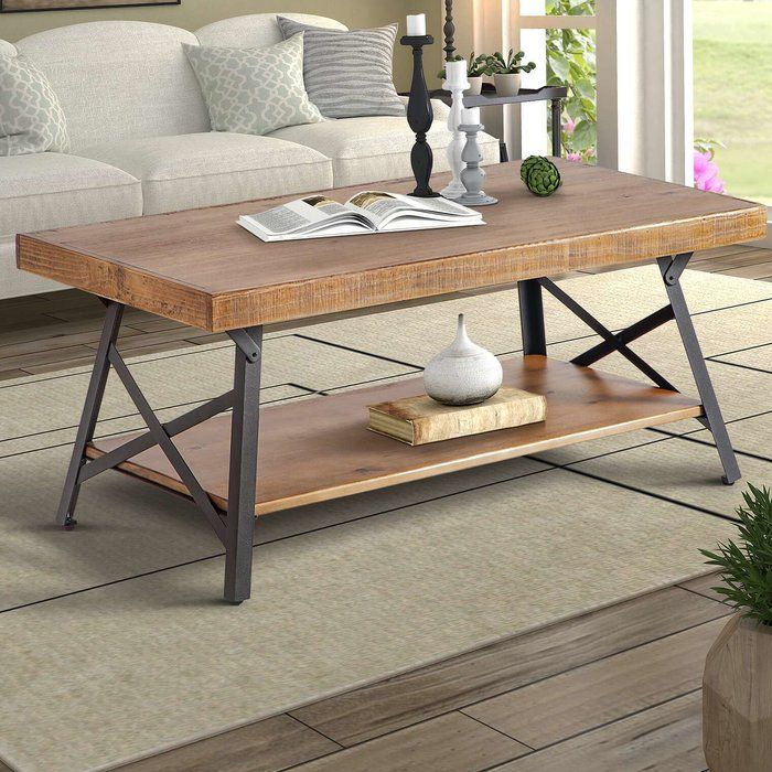 Gracie Oaks Arundel Coffee Table & Reviews | Wayfair | House Inside Carbon Loft Oliver Modern Rustic Natural Fir Coffee Tables (View 16 of 25)
