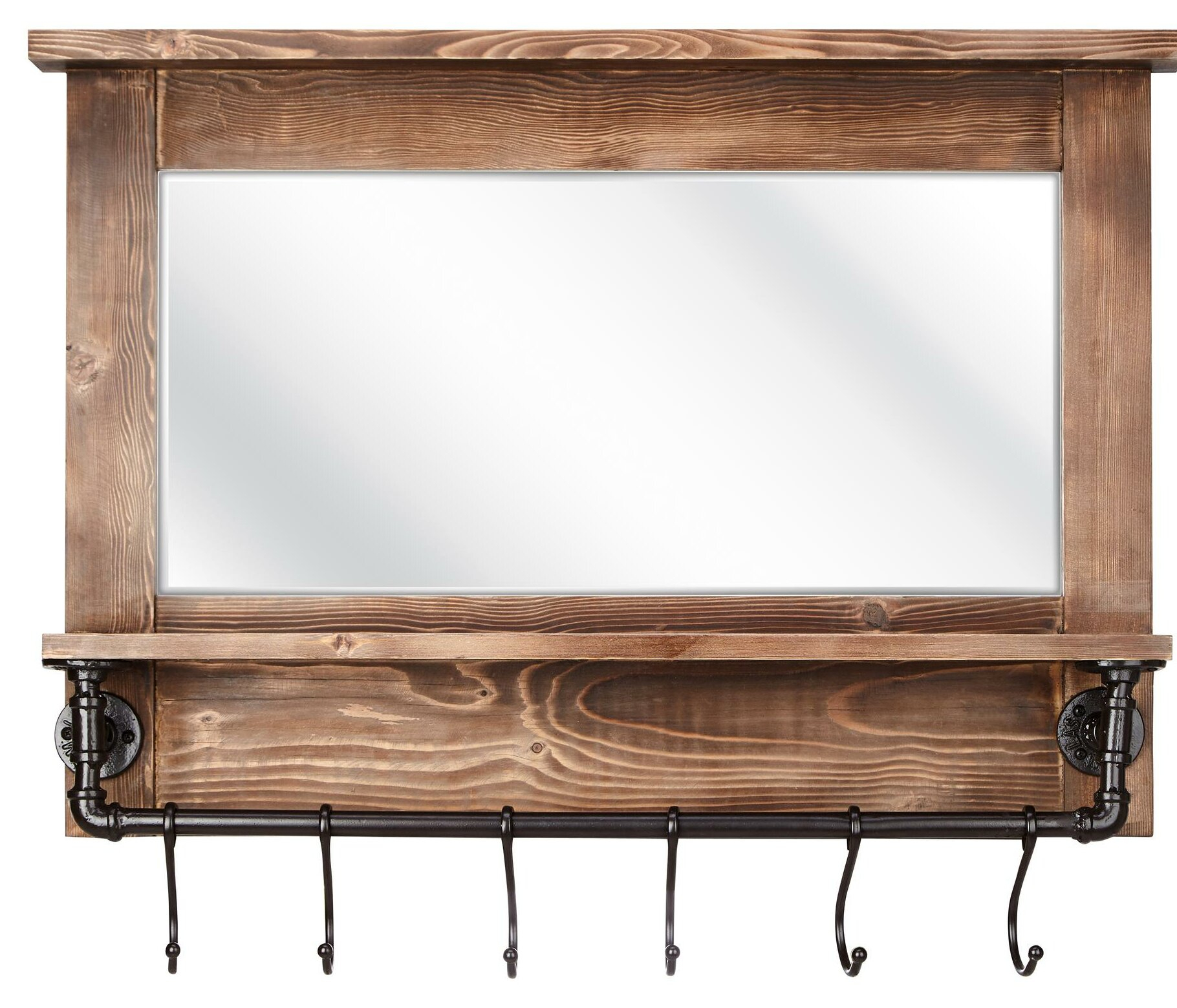 Gracie Oaks Carrico Rustic Beveled With Shelves Wall Mirror For Hallas Wall Organizer Mirrors (Image 8 of 20)