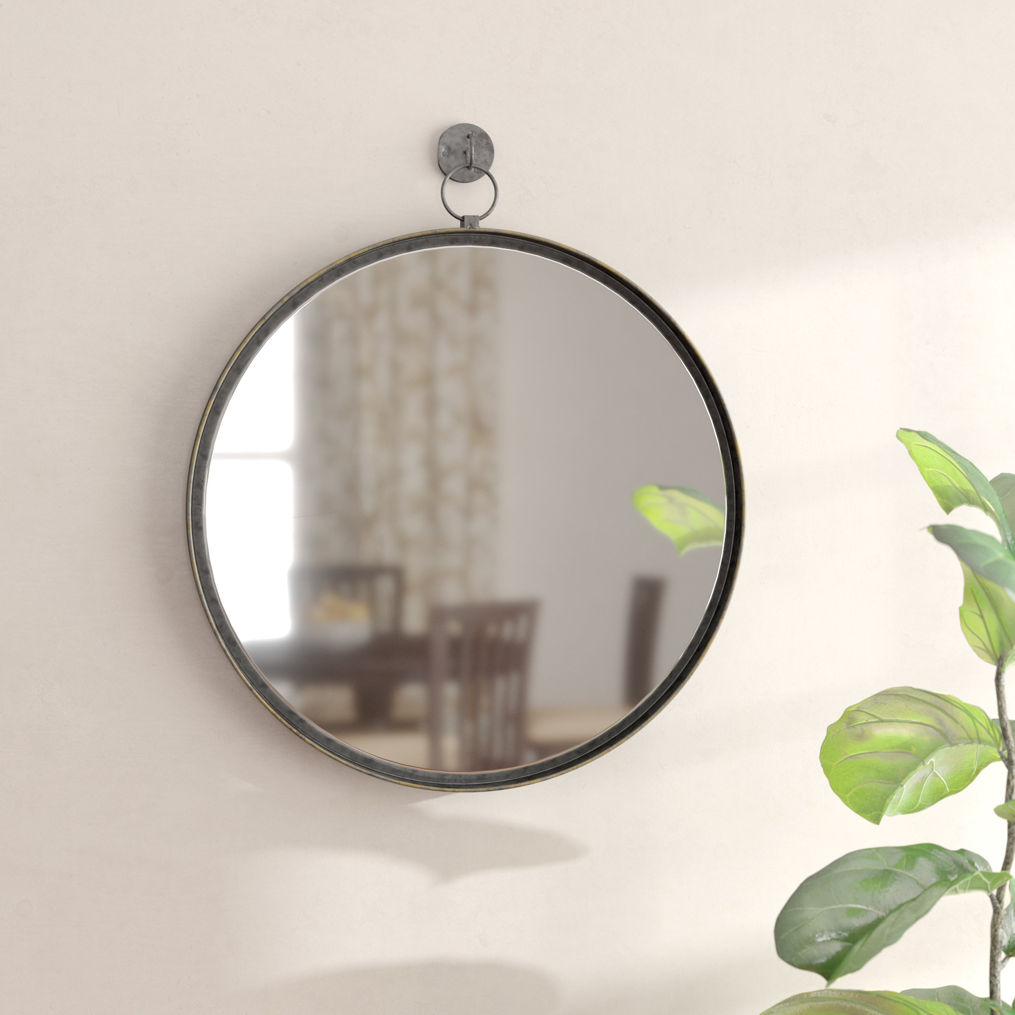 Gracie Oaks Della Suspended Round Wall Mirror & Reviews With Matthias Round Accent Mirrors (Image 4 of 20)