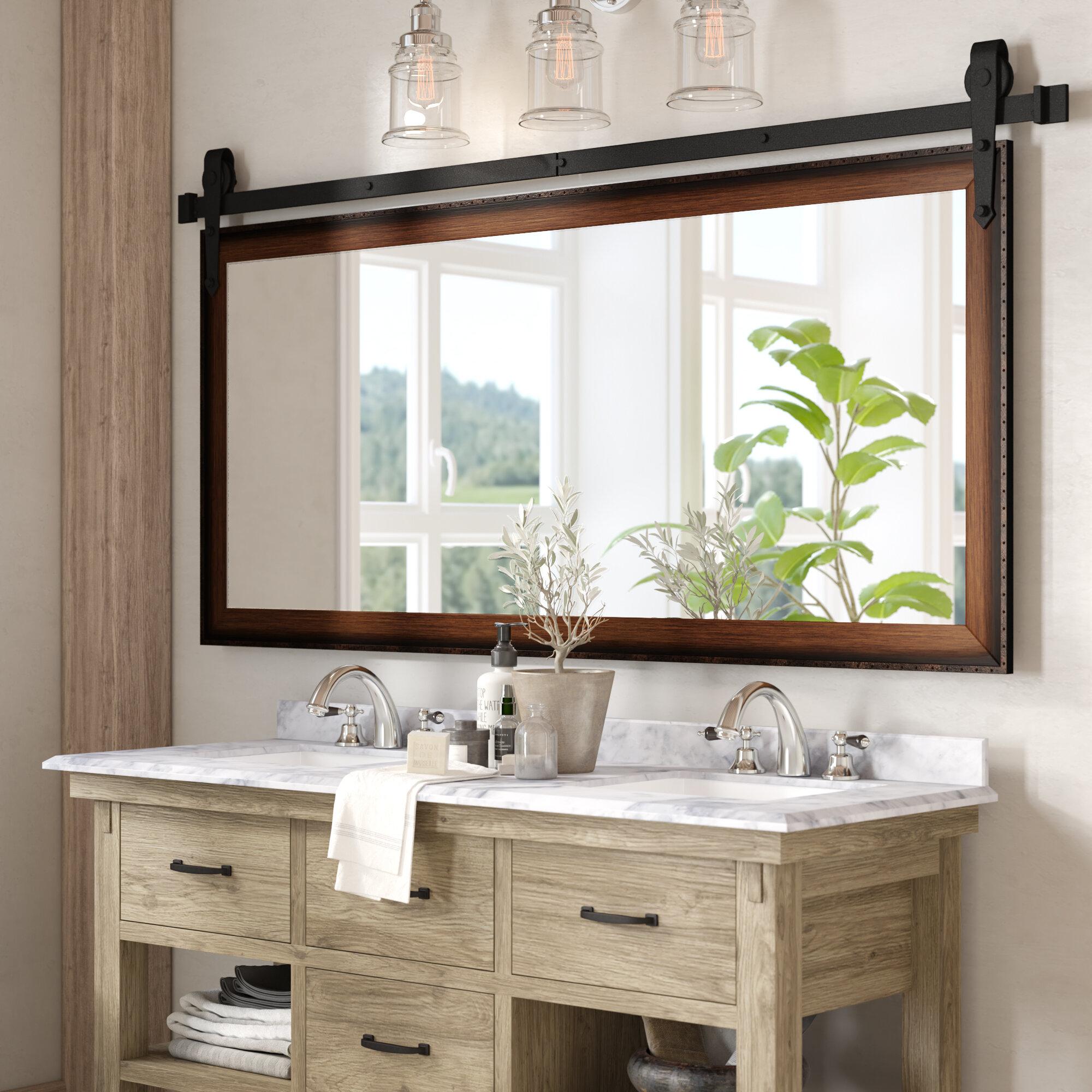 Gracie Oaks Nicholle Bathroom/vanity Mirror & Reviews | Wayfair Inside Landover Rustic Distressed Bathroom/vanity Mirrors (Image 7 of 20)