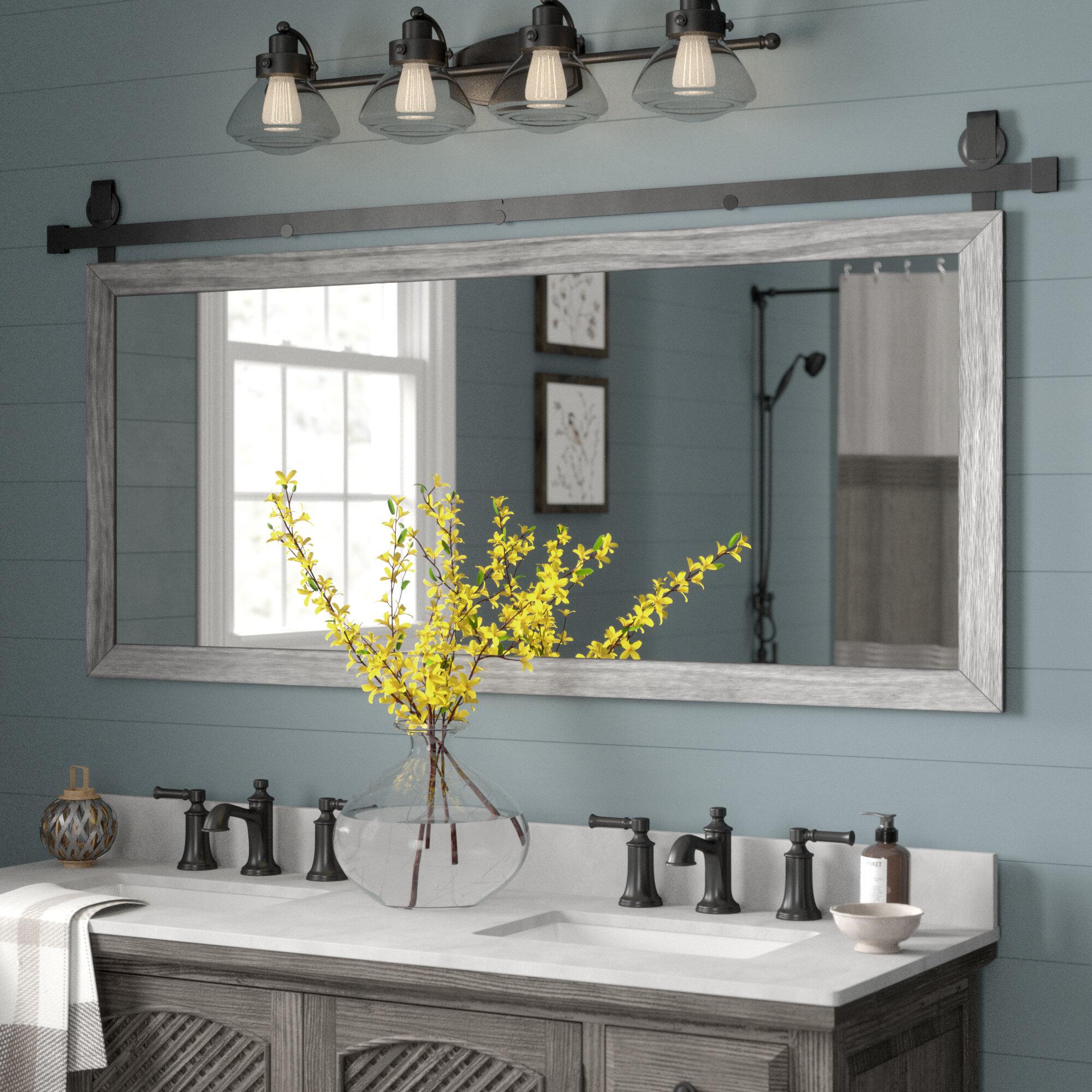 Gracie Oaks Nicholle Bathroom/vanity Mirror & Reviews | Wayfair Pertaining To Landover Rustic Distressed Bathroom/vanity Mirrors (Image 8 of 20)