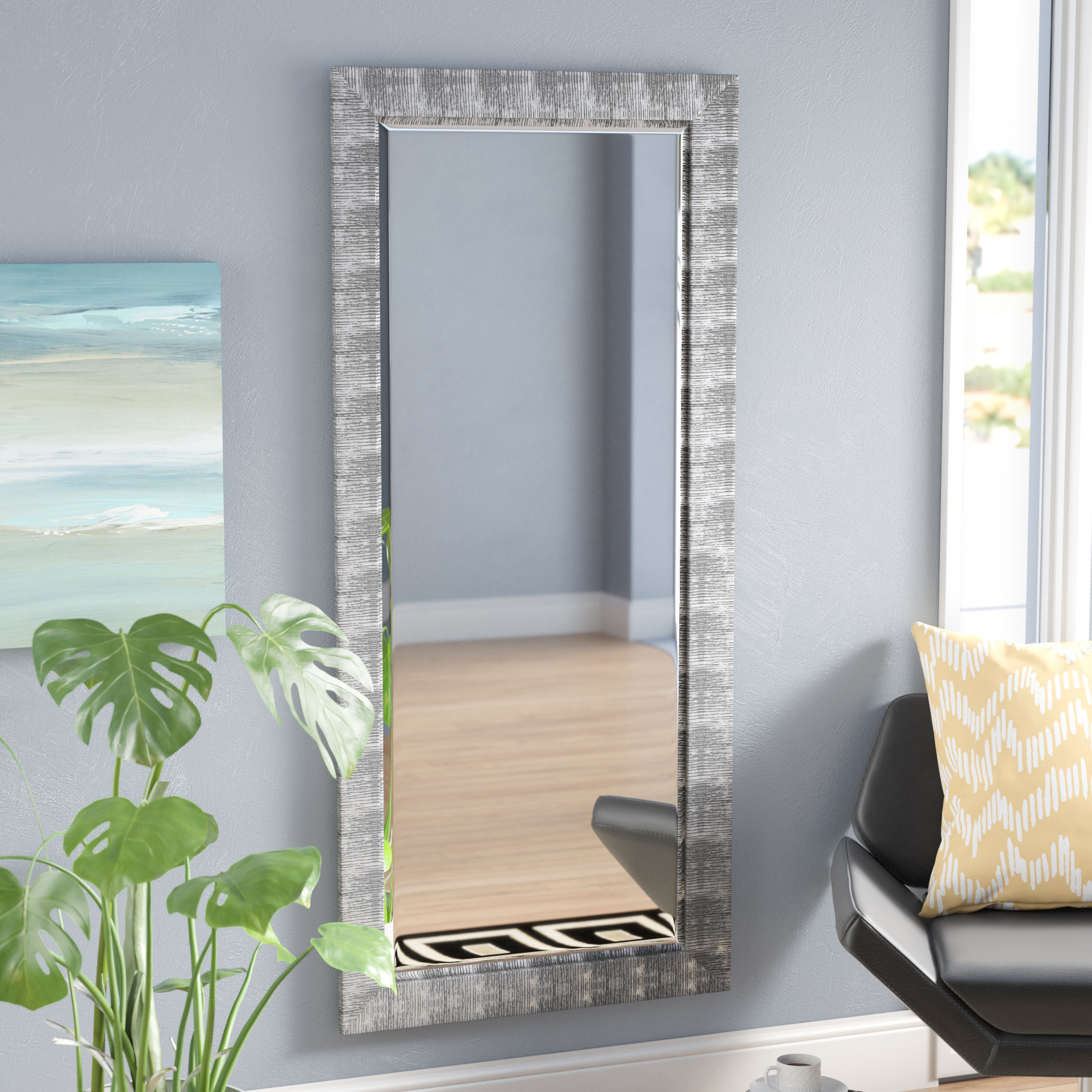 Grain Texture Modern & Contemporary Beveled Wall Mirror Intended For Epinal Shabby Elegance Wall Mirrors (View 16 of 20)