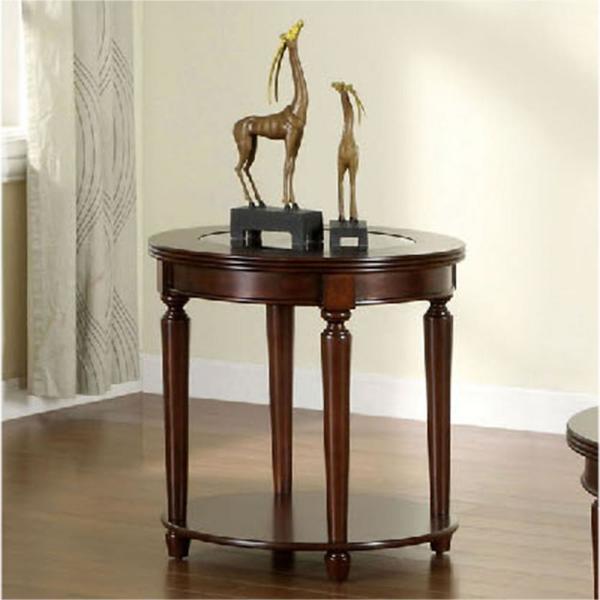 Granvia Dark Cherry End Table Regarding Furniture Of America Crescent Dark Cherry Glass Top Oval Coffee Tables (Image 27 of 50)