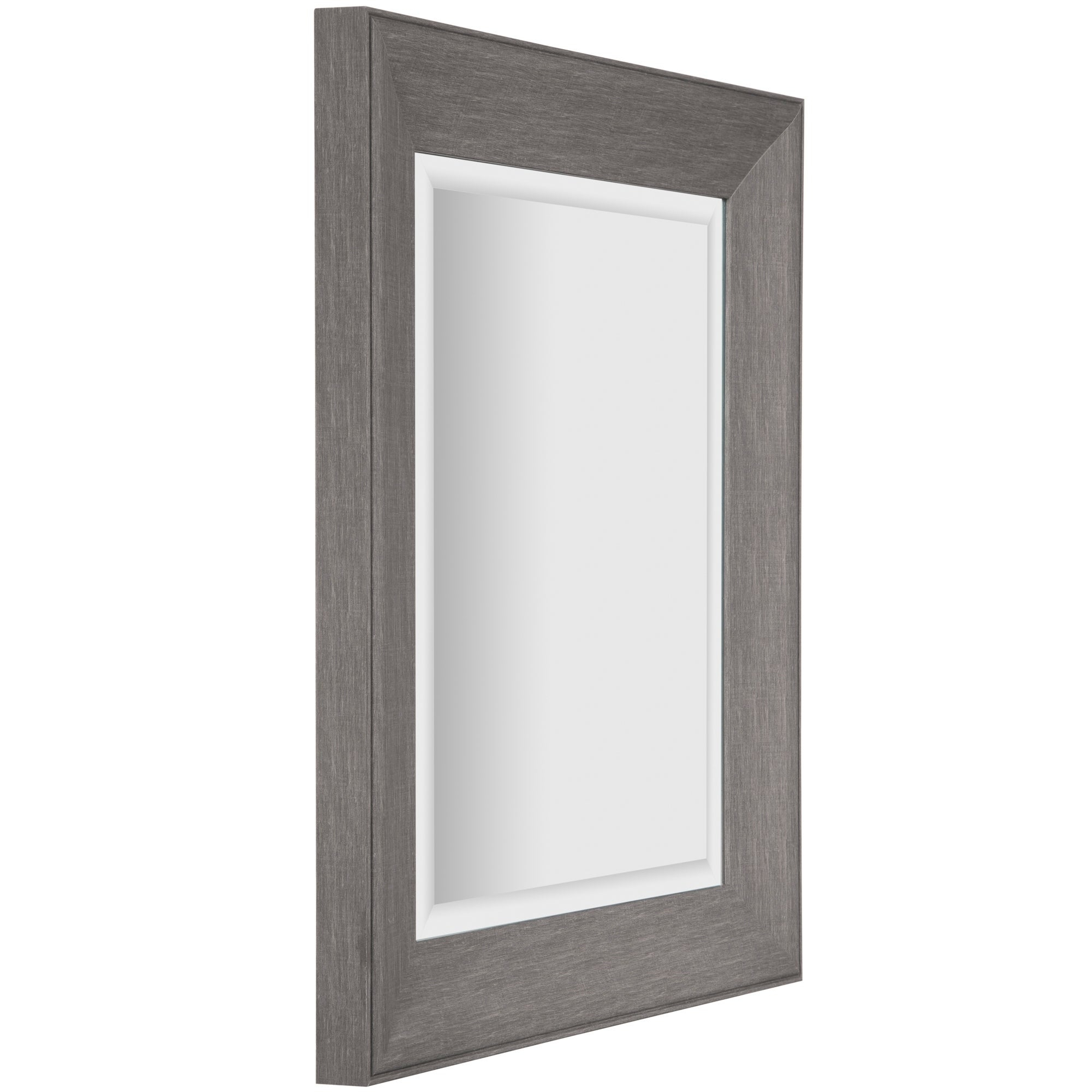 Graywash Woodgrain Framed Beveled Accent Wall Mirror – Grey Intended For Glam Beveled Accent Mirrors (Image 10 of 20)