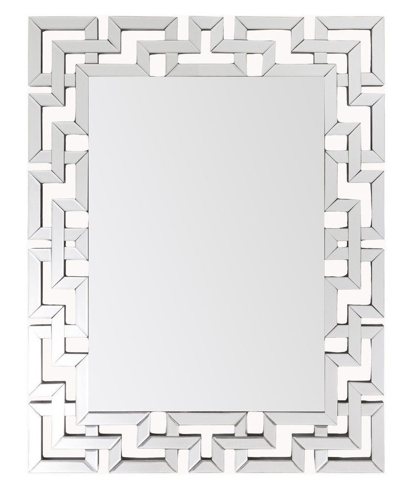 Greek Key Modern Mirror – Large Silver Frame Mirrors Pertaining To Caja Rectangle Glass Frame Wall Mirrors (View 14 of 20)