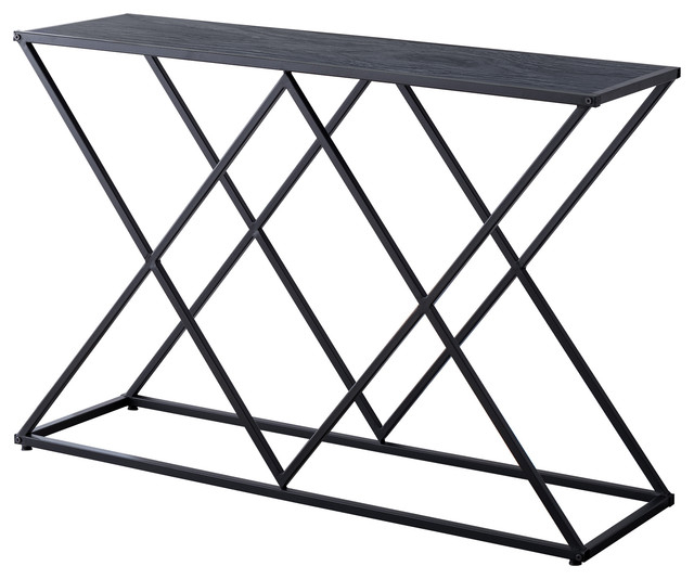 Greta Entryway Console Sofa Table, Black Metal Frame & Gray Wood Top Pertaining To Mishie Contemporary Champagne 2 Piece Accent Tables Set By Foa (View 17 of 25)