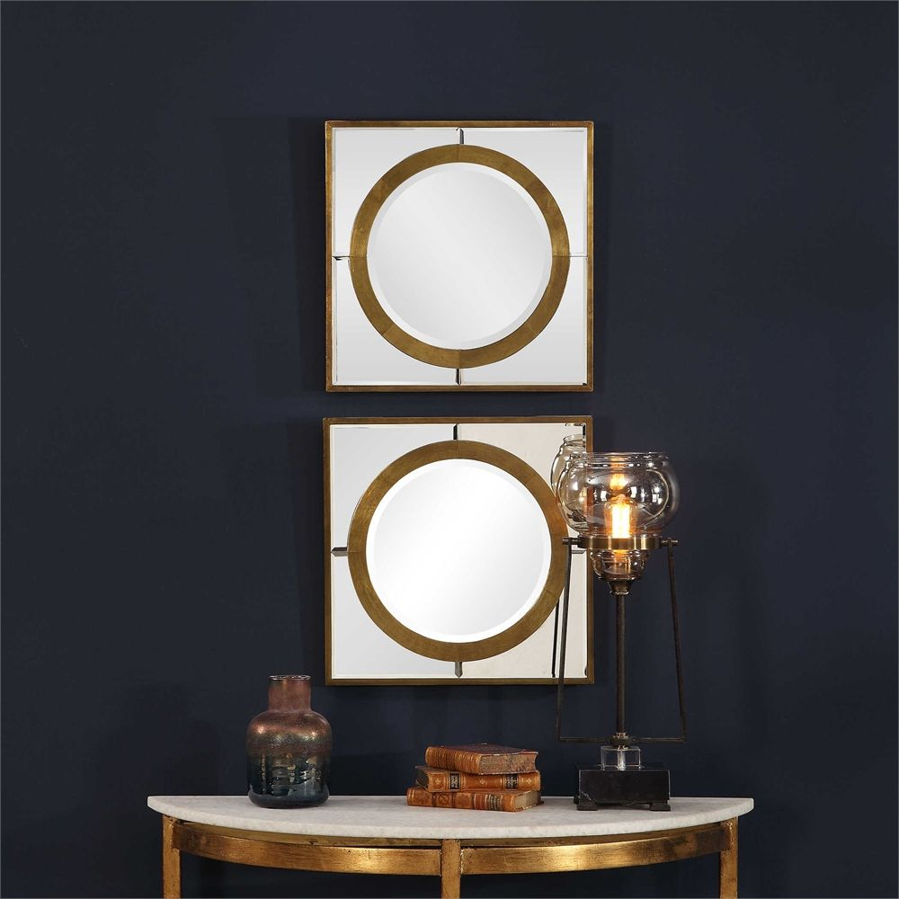Grid Of 2 X 4: Uttermost Gaza Gold Square Mirrors Set/2 Within Grid Accent Mirrors (Image 13 of 20)