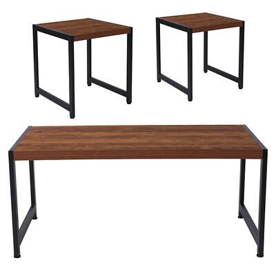 Grove Hill Collection 3 Piece Coffee And End Table Set In Rustic Wood Grain F 889142255413 | Ebay Pertaining To Copper Grove Ixia Rustic Oak And Slate Tile Coffee Tables (View 20 of 25)