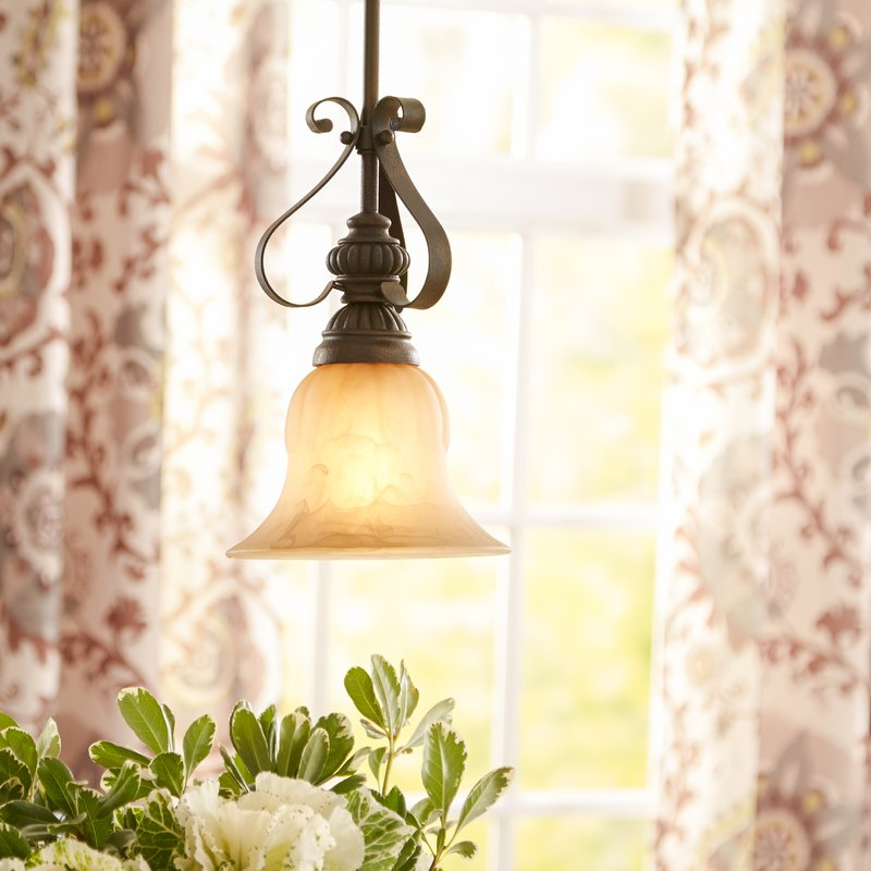 Grullon Scroll 1 Light Single Bell Pendant With Regard To Grullon Scroll 1 Light Single Bell Pendants (View 2 of 25)
