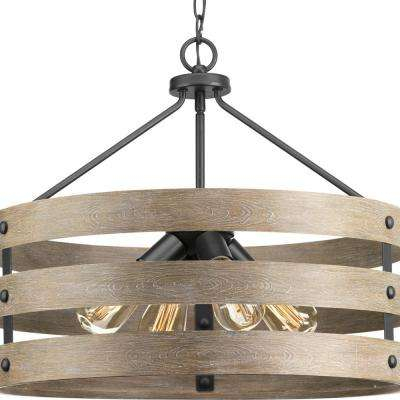 Gulliver 4 Light Graphite Drum Pendant With Weathered Gray Wood Accents Inside Vincent 5 Light Drum Chandeliers (Image 12 of 25)