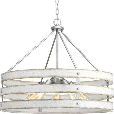 Gulliver 5 Light Galvanized Drum Pendant With Weathered White Wood Accents Throughout Harlan 5 Light Drum Chandeliers (Image 6 of 20)