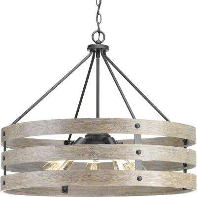 Gulliver 5 Light Graphite Drum Pendant With Weathered Gray Wood Accents With Harlan 5 Light Drum Chandeliers (Image 7 of 20)