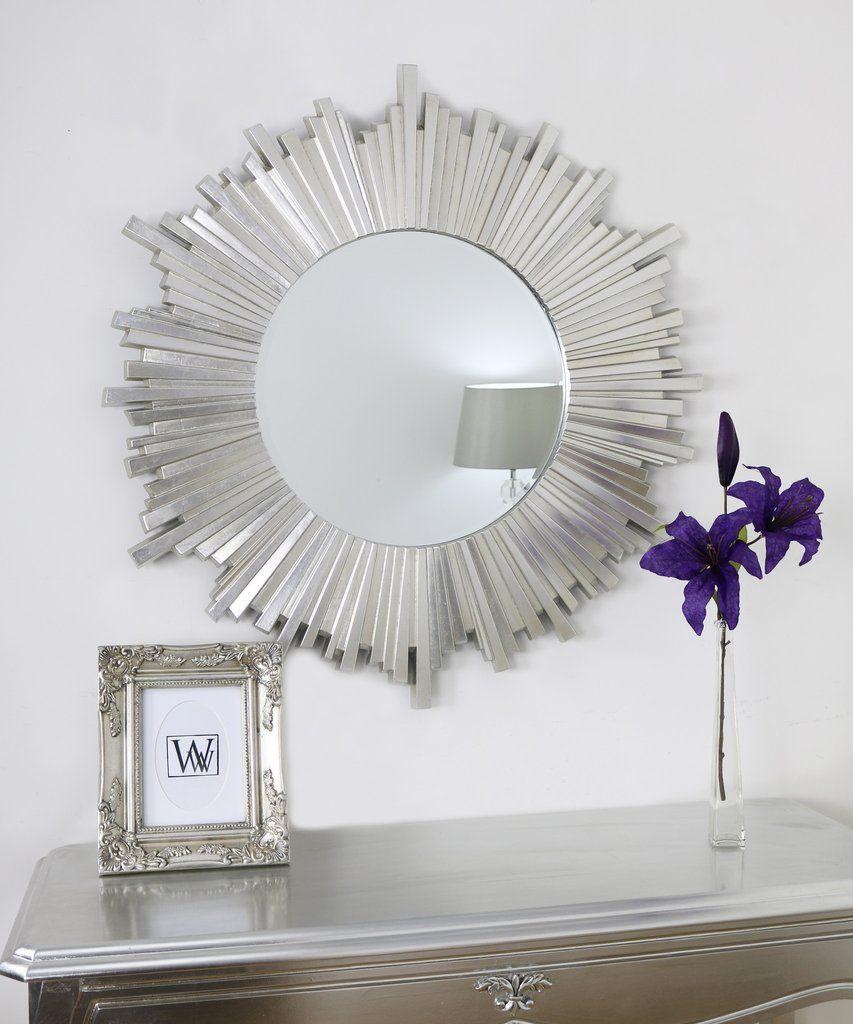 "Hamilton Sunburst Art Deco Silver Round Mirror 40"" X 40 With Knott Modern & Contemporary Accent Mirrors (Image 10 of 20)"