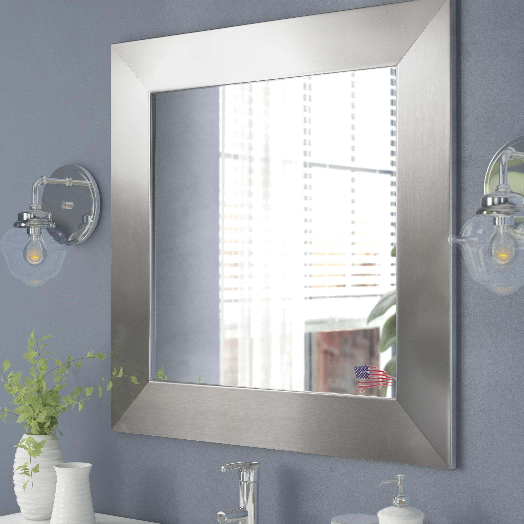 Hammered Nickel Mirror | Wayfair Within Hogge Modern Brushed Nickel Large Frame Wall Mirrors (Image 7 of 20)
