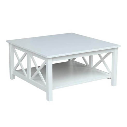 "Hampton 18""h White Square Coffee Table In Hampton Unfinished Solid Parawood Square Coffee Tables (Image 2 of 50)"