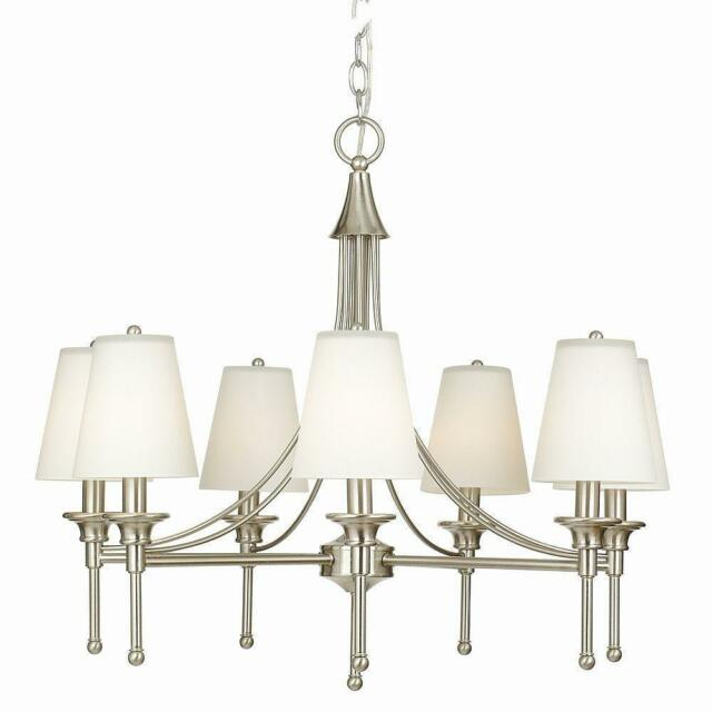 Hampton Bay Sadie Collection 7 Light Satin Nickel Chandelier Regarding Whitten 4 Light Crystal Chandeliers (View 20 of 20)