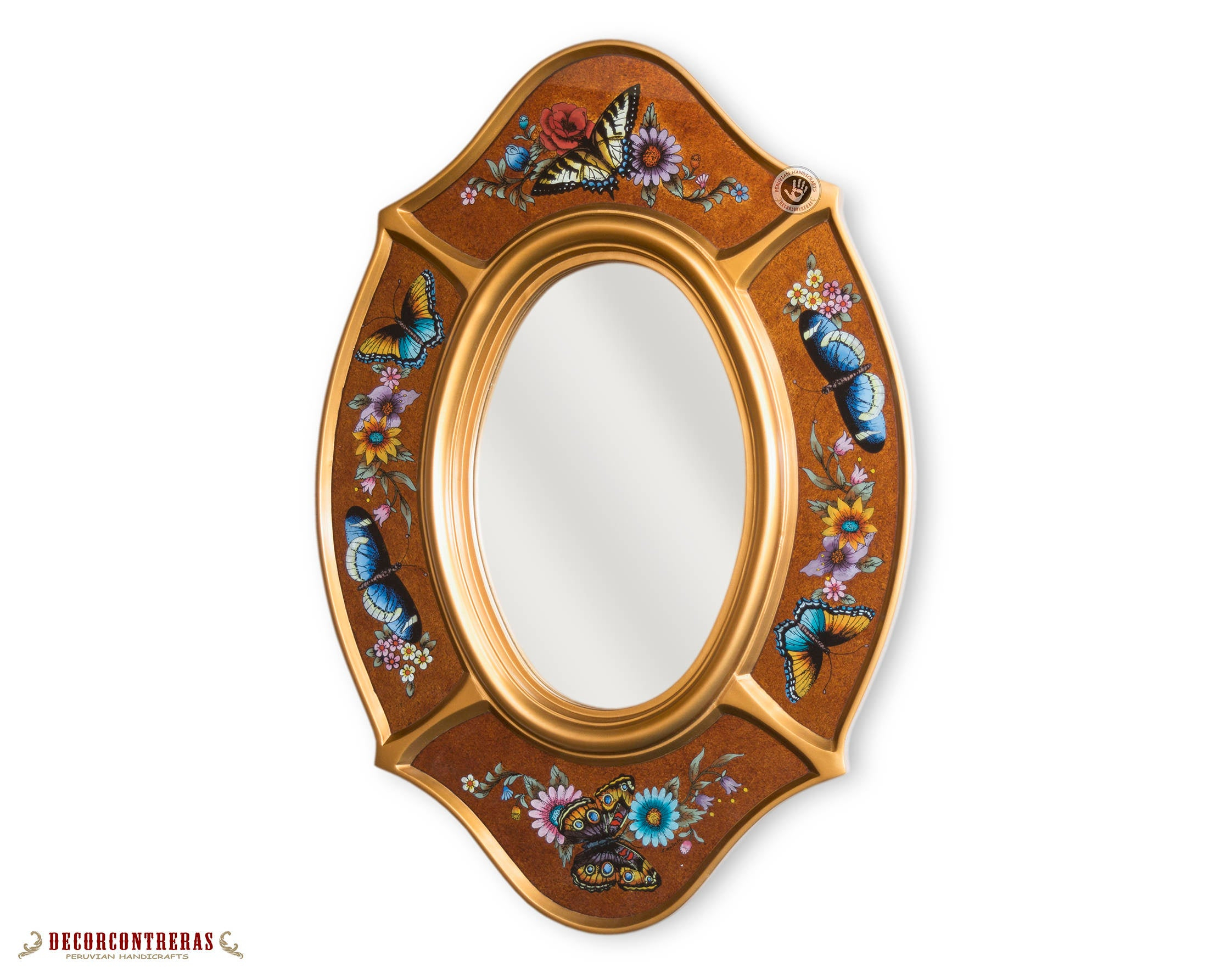"""Handmade Oval Wall Mirror """"butterflies Gold"""" – Hand Painted Glass Wood  Decorative Oval Mirror  Peruvian Arts Crafts Walnut Mirror Wall Decor With Oval Wood Wall Mirrors (View 14 of 20)"""