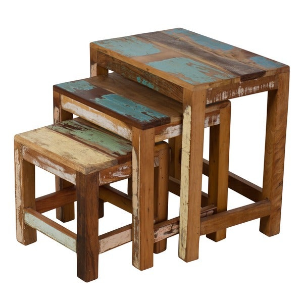 Handmade Stripped Wood 3 Piece Nesting Table Trio (India) With Handmade Whitewashed Stripped Wood Tables (Image 8 of 25)
