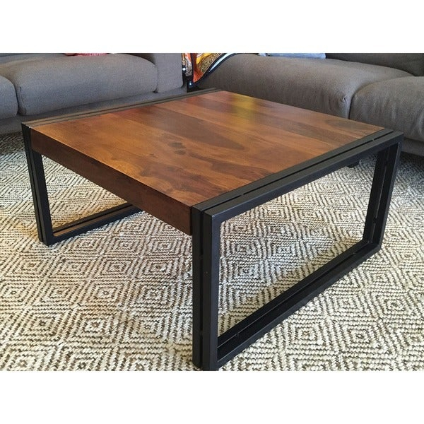 Handmade Timbergirl Solid Seesham Wood Coffee Table (India) With Regard To Paris Natural Wood And Iron 30 Inch Square Coffee Tables (View 13 of 25)
