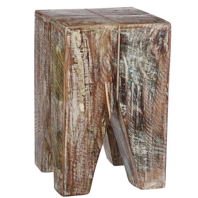 Handmade Whitewashed Stripped Wood Stool (India) For Handmade Whitewashed Stripped Wood Tables (Image 9 of 25)