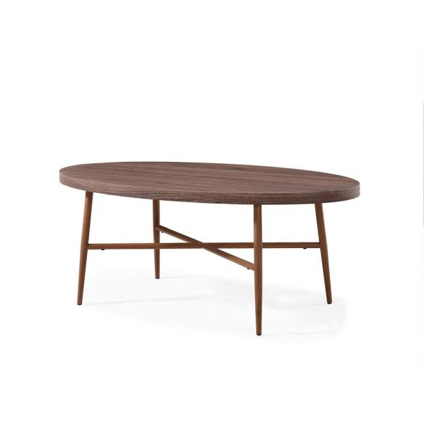 Handy Living Miami Brown Oval Cocktail Table With Brown Pertaining To Handy Living Miami White Oval Coffee Tables With Brown Metal Legs (View 4 of 25)