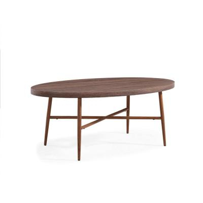 Handy Living Miami Brown Oval Cocktail Table With Brown Pertaining To Handy Living Miami White Oval Coffee Tables With Brown Metal Legs (View 2 of 25)