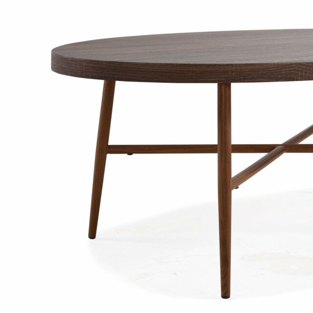 Handy Living Miami Brown Oval Coffee Table With Brown Metal Brown Throughout Handy Living Miami White Oval Coffee Tables With Brown Metal Legs (View 17 of 25)