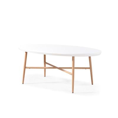 Featured Image of Handy Living Miami White Oval Coffee Tables With Brown Metal Legs