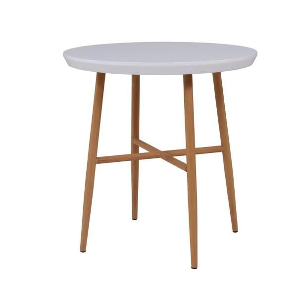 Handy Living Miami White Round End Table With Light Oak With Regard To Handy Living Miami White Oval Coffee Tables With Brown Metal Legs (View 7 of 25)