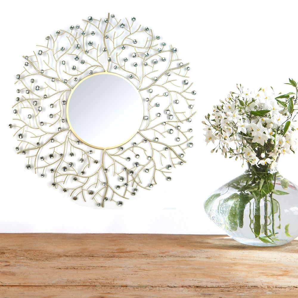 Hanging Wall Mirror Beautiful Acrylic Round Vertical Gold With Vertical Round Wall Mirrors (Image 10 of 20)