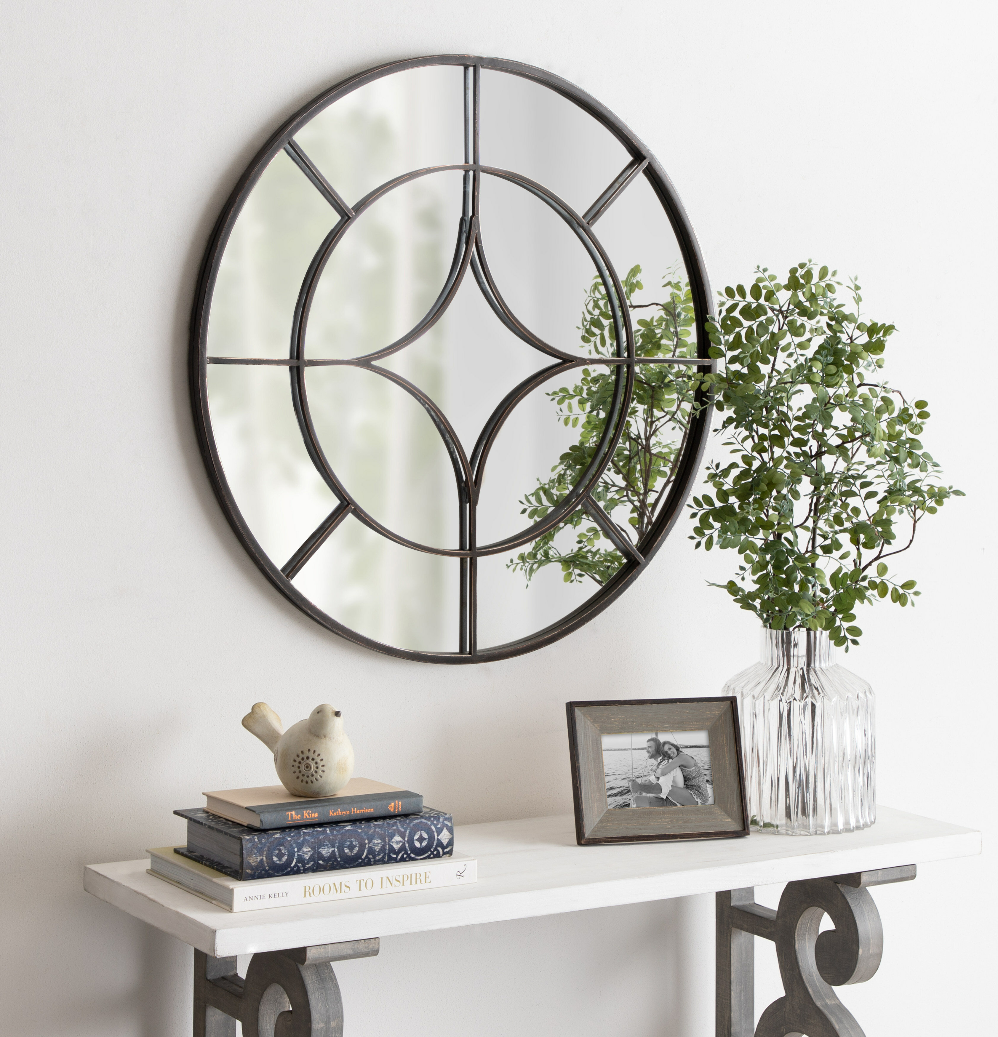 Hanska Industrial Modern Overlaid Beveled Frameless Accent Mirror Pertaining To Arrigo Accent Mirrors (View 4 of 20)
