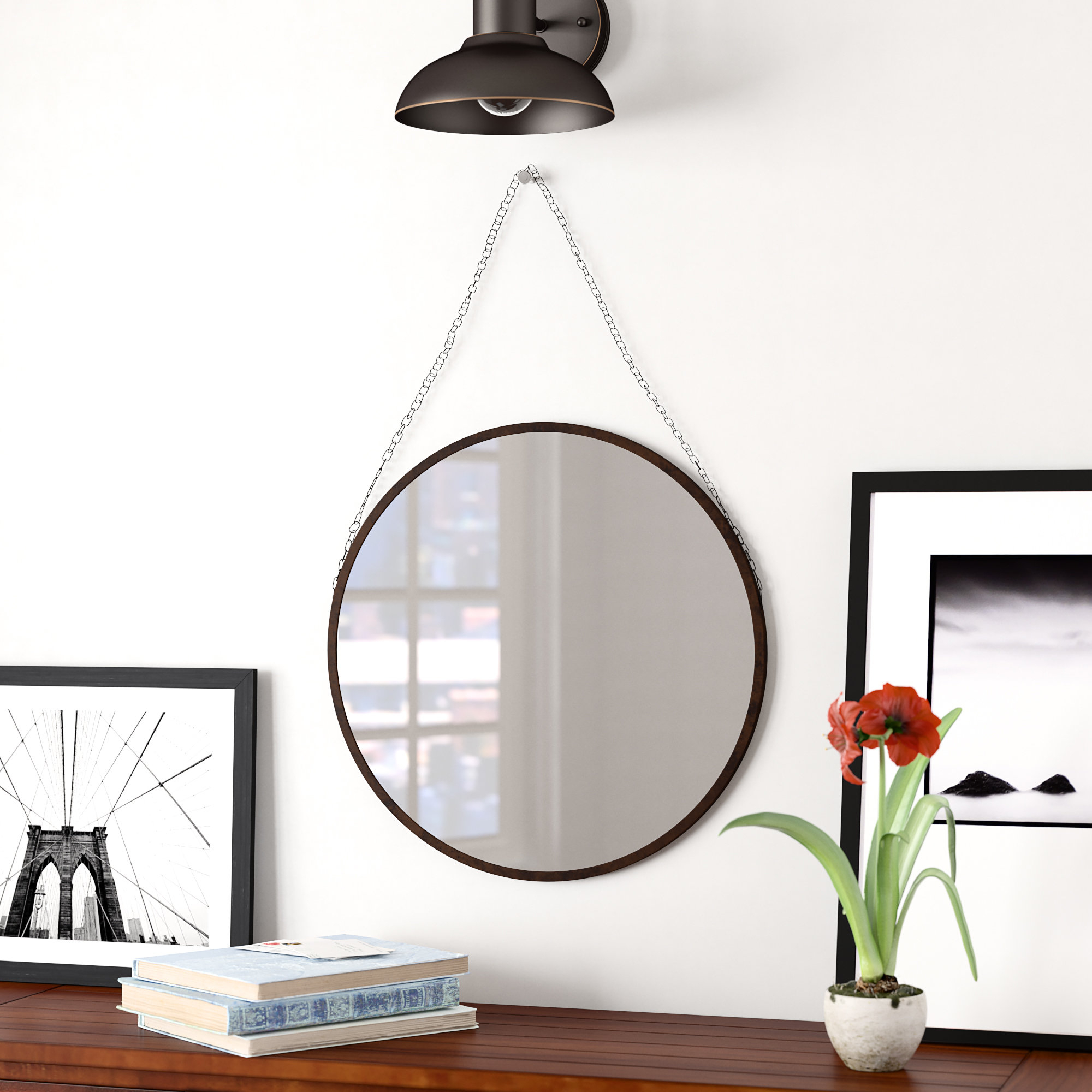 Hardison With Chain Hanger Accent Mirror With Regard To Rhein Accent Mirrors (View 14 of 20)