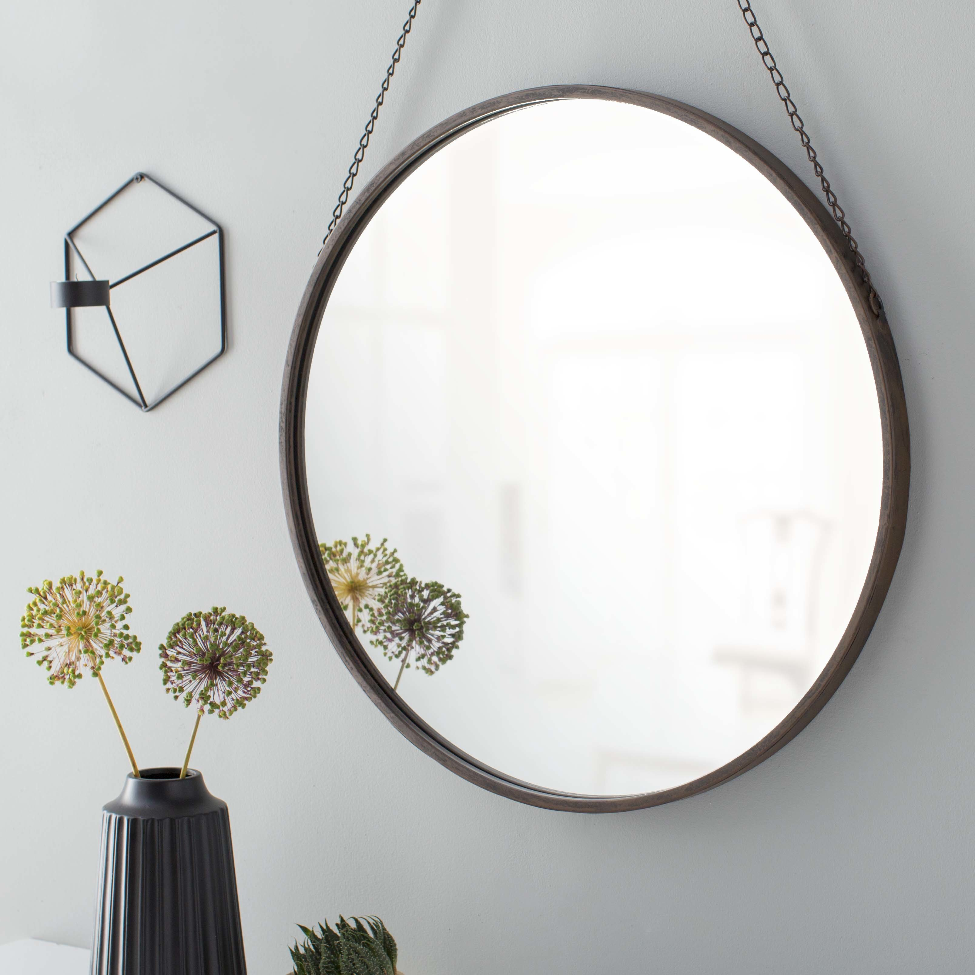 Hardison With Chain Hanger Accent Mirror Within Knott Modern & Contemporary Accent Mirrors (Image 11 of 20)