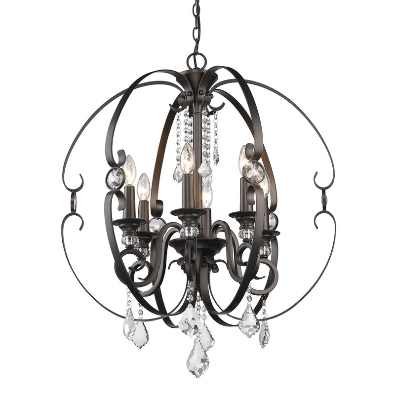 Hardouin 6 Light Globe Chandelier Regarding Alden 6 Light Globe Chandeliers (View 14 of 20)