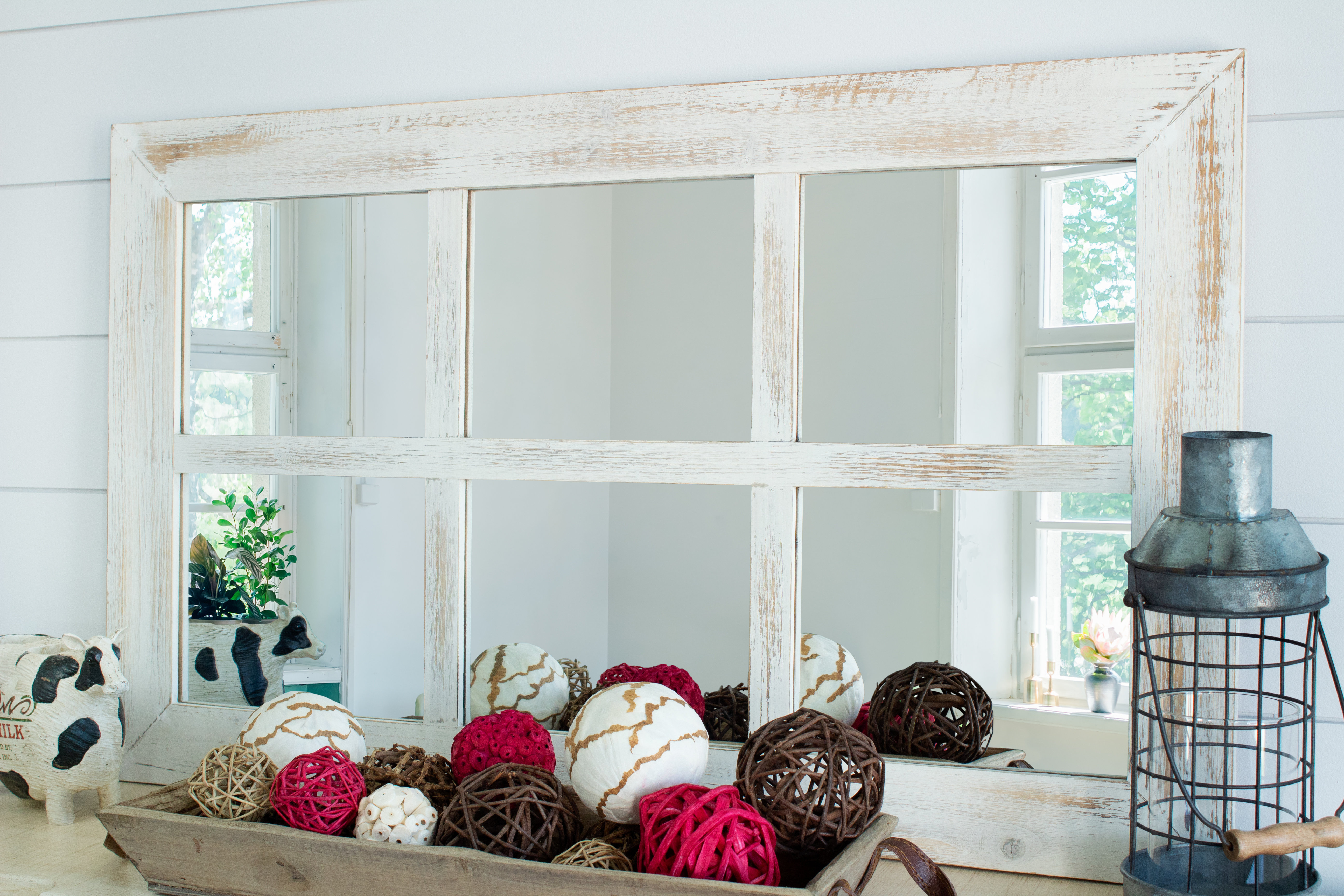 Harr Rustic Windowpane Accent Mirror Throughout Newtown Accent Mirrors (Image 5 of 20)
