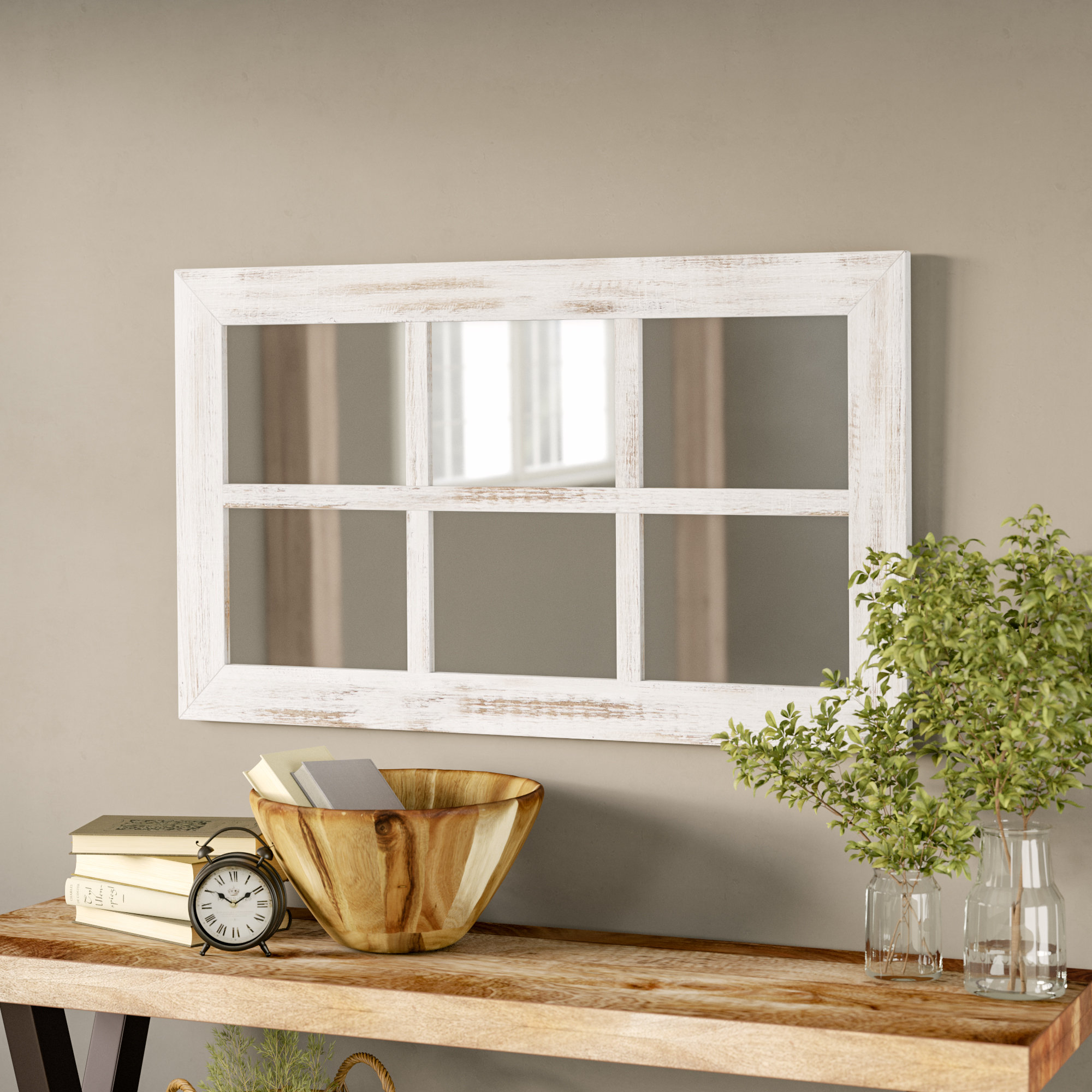 Harr Rustic Windowpane Accent Mirror Within Rena Accent Mirrors (Image 10 of 20)