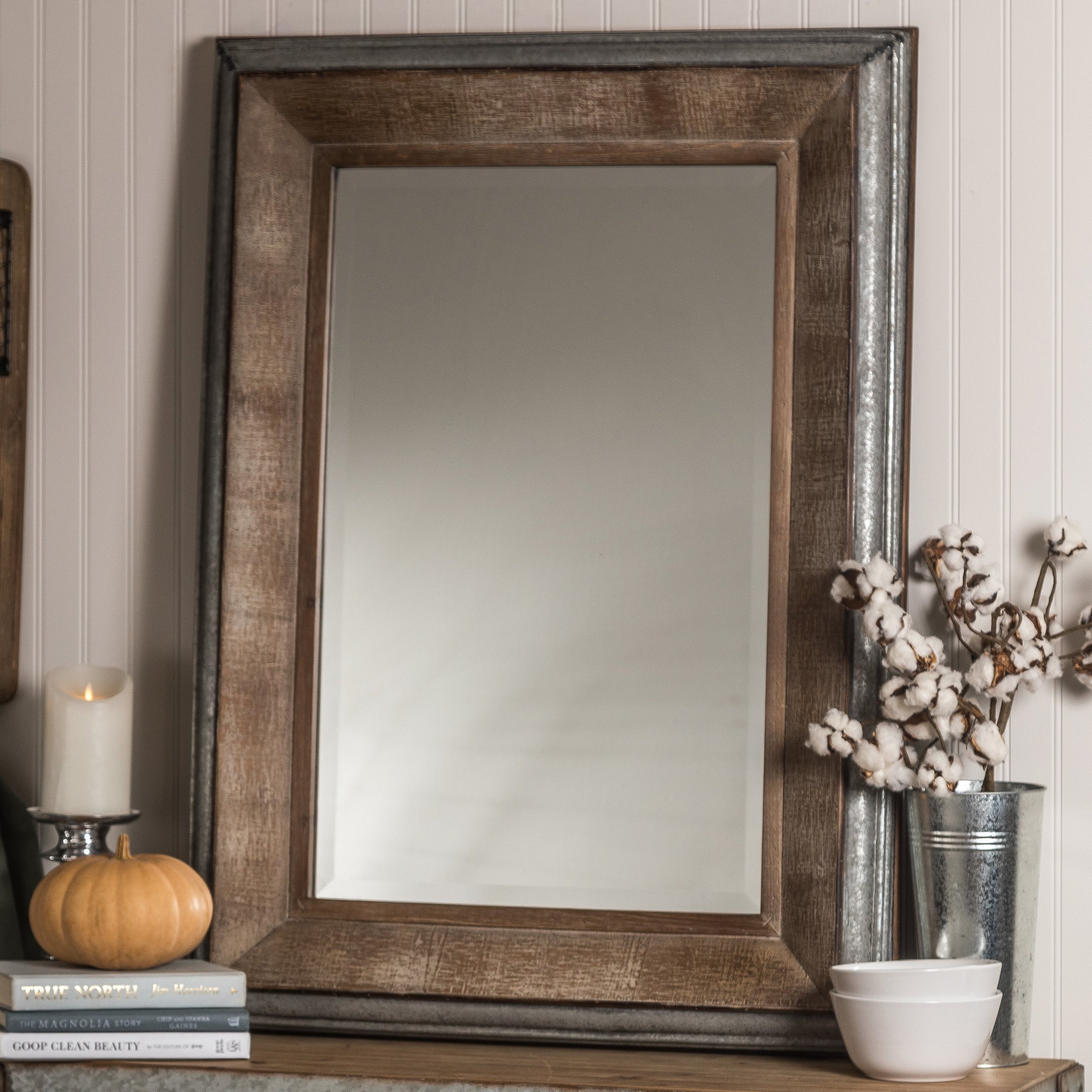 Hatten Modern & Contemporary Beveled Accent Mirror In Kristy Rectangular Beveled Vanity Mirrors In Distressed (Image 12 of 20)