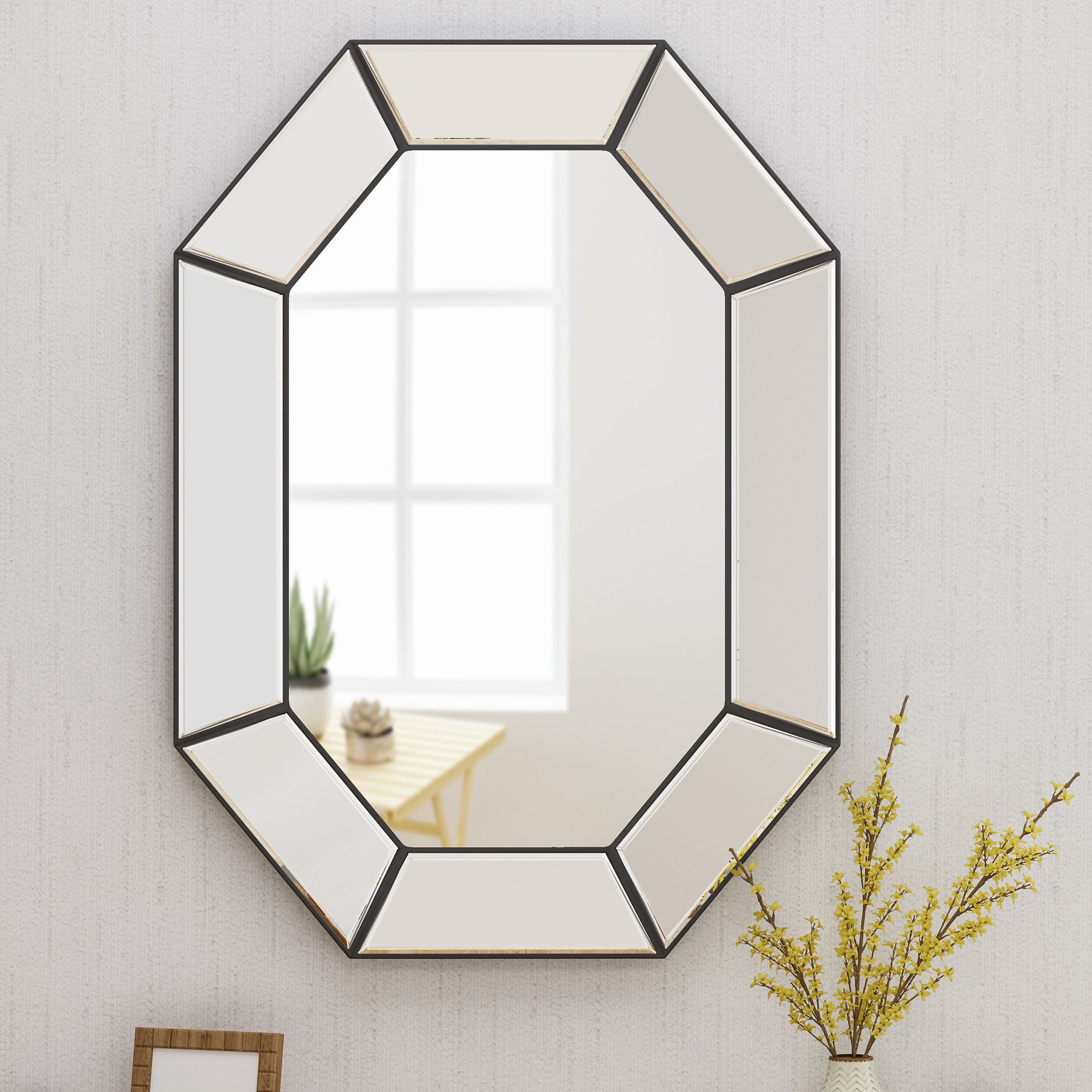Haverstraw Glam Accent Mirror Regarding Gia Hexagon Accent Mirrors (Image 13 of 20)
