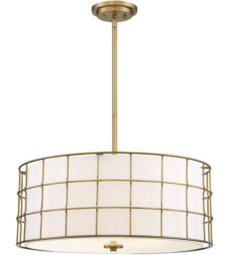 Hayden 5 Light 25 Inch Warm Brass Pendant Ceiling Light Regarding Hayden 5 Light Shaded Chandeliers (Image 11 of 20)