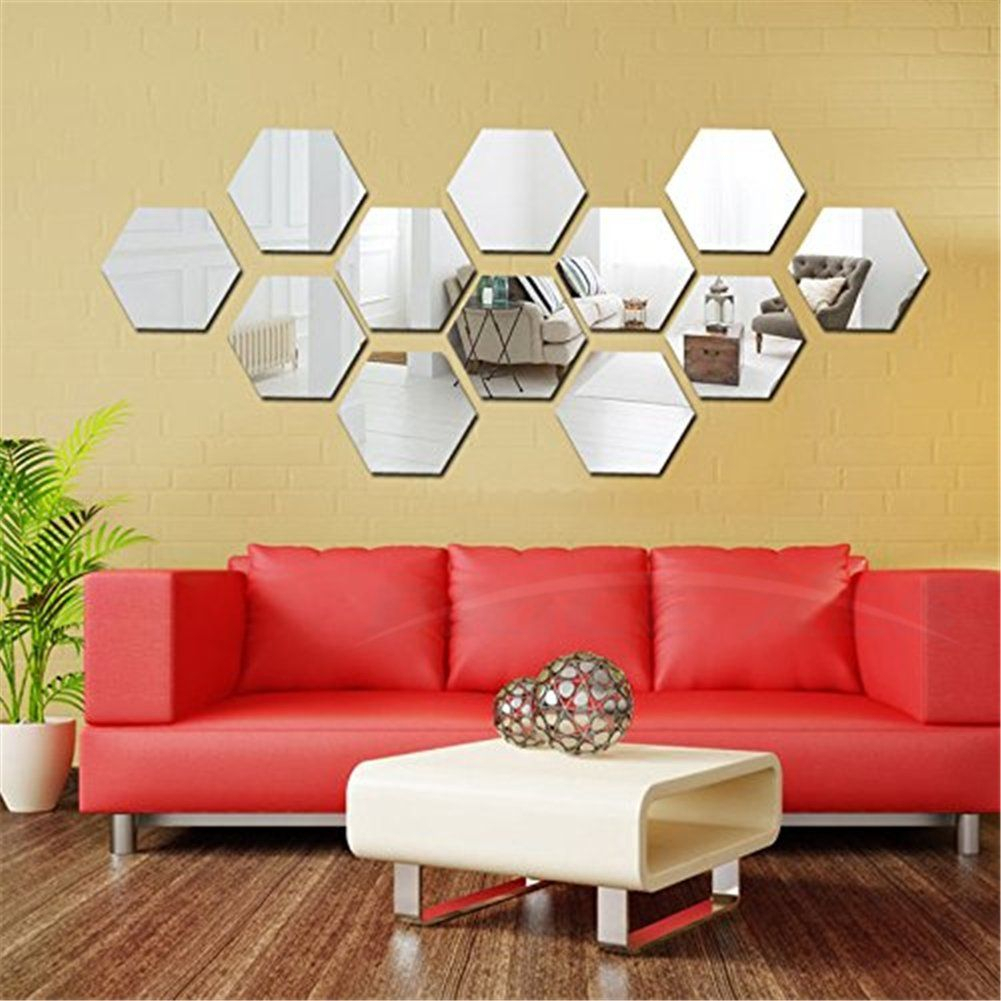 Hexagon Mirror Wall Stickers 12Pcs Mirror Art Diy Home Within Hussain Tile Accent Wall Mirrors (Image 11 of 20)