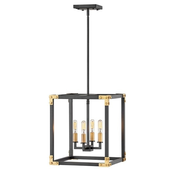 Hinkley Louis 4 Light Chandelier In Satin Black Intended For Hewitt 4 Light Square Chandeliers (View 5 of 20)