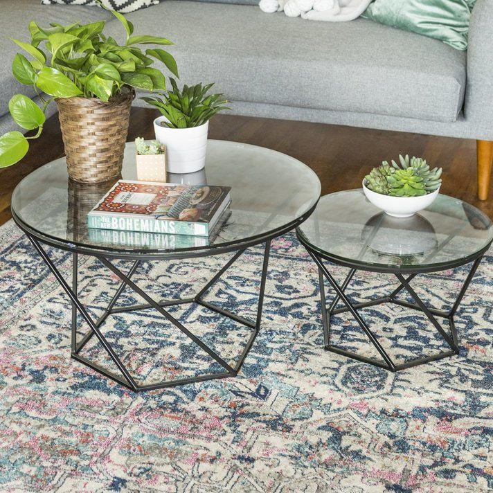 Holcombe 2 Piece Coffee Table Set | Apartment! | Small Pertaining To Silver Orchid Henderson Faux Stone Round End Tables (View 18 of 25)