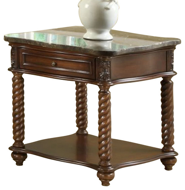 Homelegance Lockwood Square End Table With Marble Top In Lockwood Rectangle Coffee Tables (View 13 of 25)