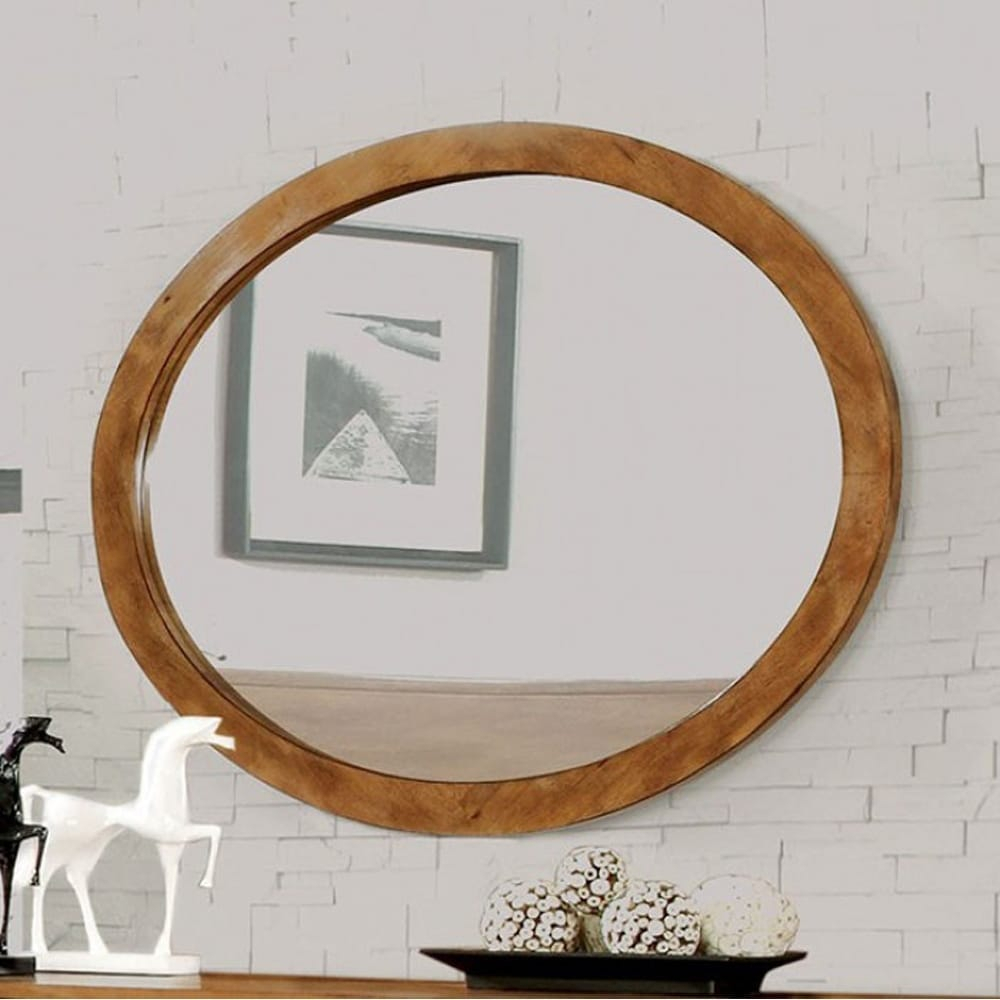 Homeroots Solid Wood, Wood Veneer & Lennart Wall Mounted Oval Mirror In Oak  Finish Inside Oval Wood Wall Mirrors (View 18 of 20)
