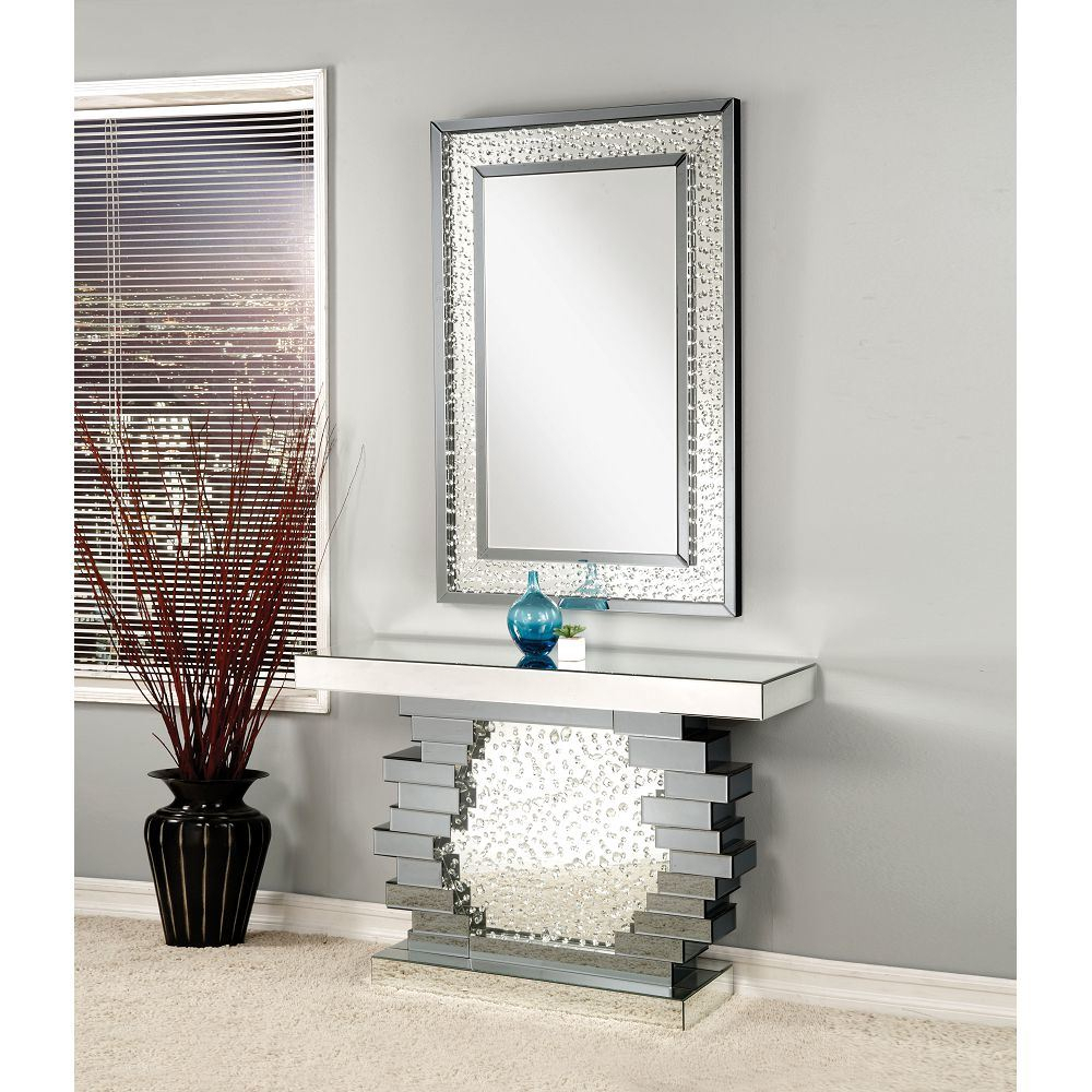 [Hot Item] Accent Home Crystal Rectangle Wall Mirror With Crystal Mirrored Console Table Within Rectangle Accent Wall Mirrors (View 18 of 20)
