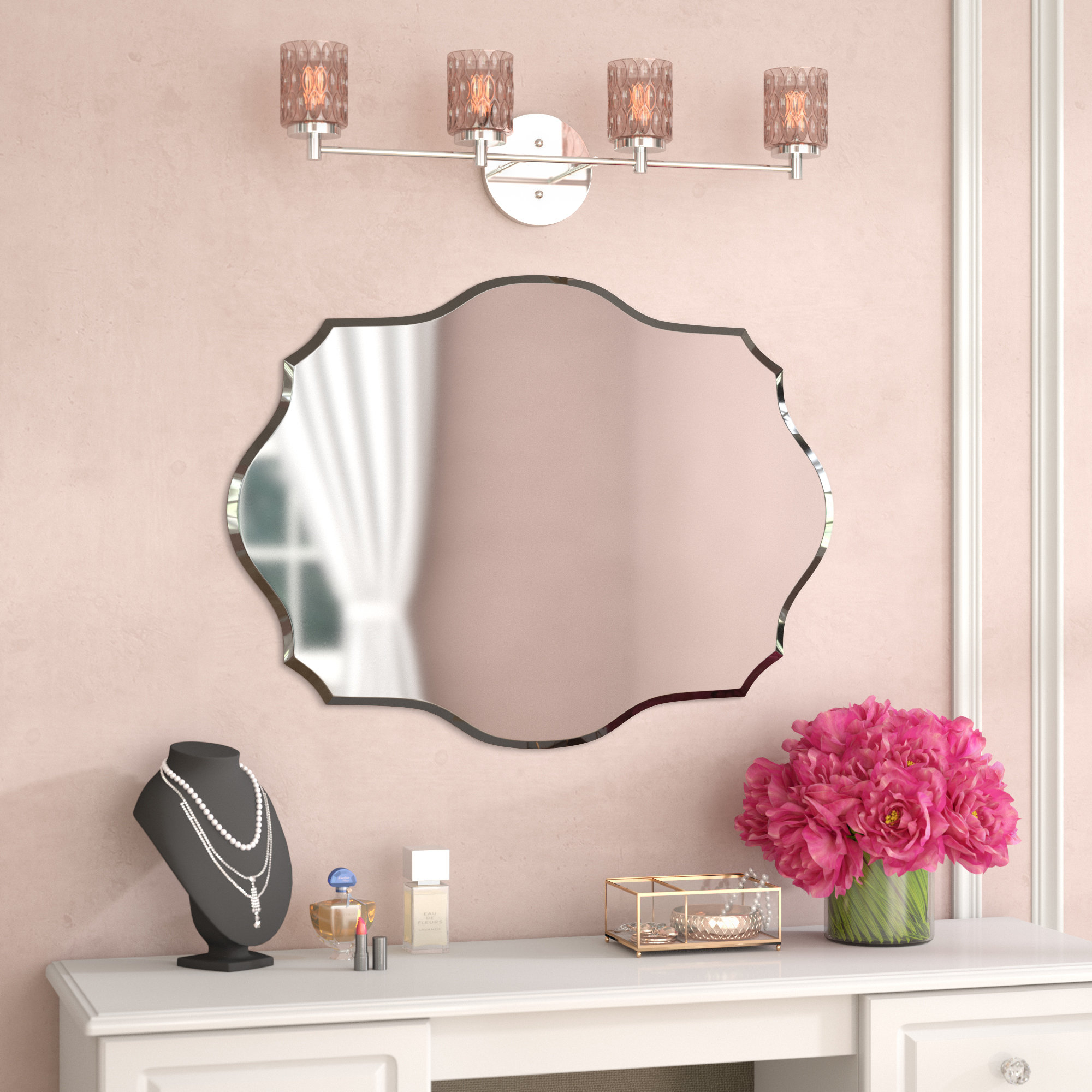 House Of Hampton Mccroy Glam Frameless Wall Mirror & Reviews Intended For Estefania Frameless Wall Mirrors (View 17 of 20)