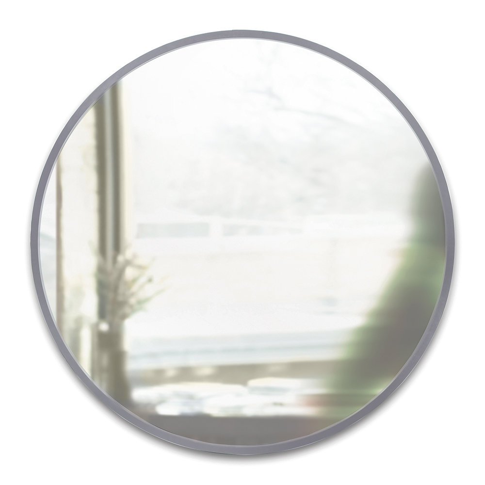 Hub Round Wall Mirror – 94Cm – Grey Pertaining To Elevate Wall Mirrors (Image 18 of 20)