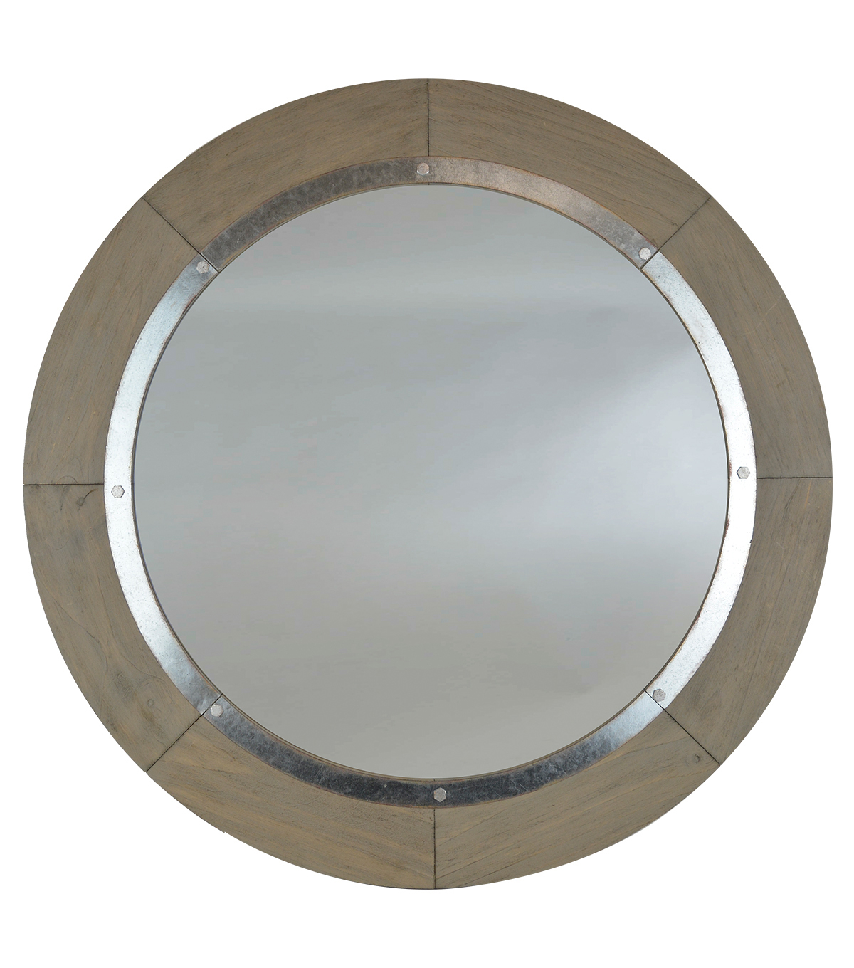 Hudson 43 Rustic 24'' Round Mirror With Metal Accent Throughout Oval Metallic Accent Mirrors (Image 8 of 20)